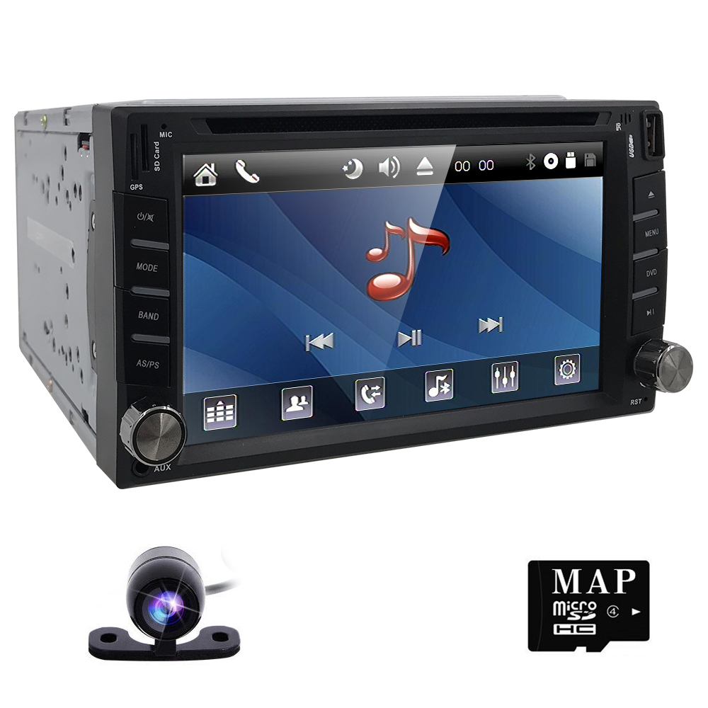 Dash araba dvd player Stereo MP3 Baş Ünitesi CD kamera otopark GPS navigator 2 din autoradio Video direksiyon simidi-araba multimedya