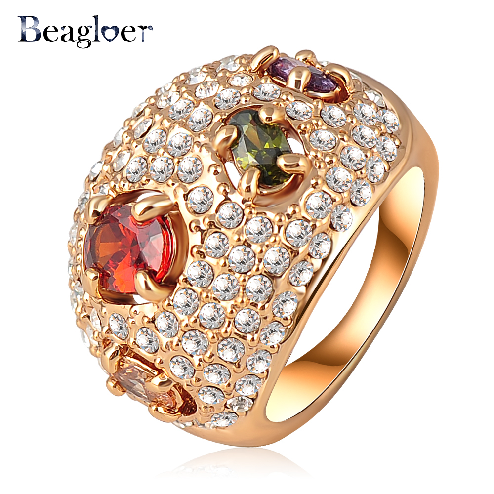 Beagloer Newest Fashion Gold Color Multicolor Zircon and Pave Austrian Crystals Engagement Rings Crystal Jewelry Ri-HQ0079