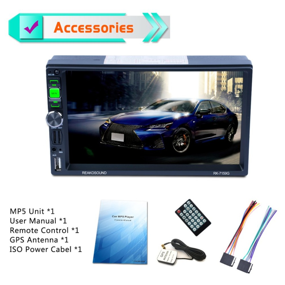 7159G 7 Full HD 1080 P Araba DVD MP5 Çalar GPS Navigator Bluetooth FM/RDS Radyo Araba multimedya Oynatıcı Desteği Mirrorlink